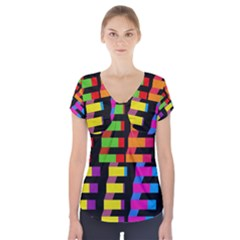 Colorful Rectangles And Squares                           Short Sleeve Front Detail Top by LalyLauraFLM