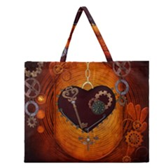 Steampunk, Heart With Gears, Dragonfly And Clocks Zipper Large Tote Bag by FantasyWorld7