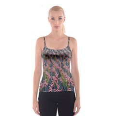 Repetition Retro Wallpaper Stripes Spaghetti Strap Top