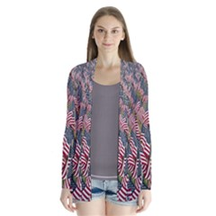 Repetition Retro Wallpaper Stripes Drape Collar Cardigan