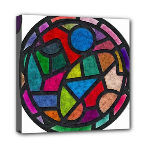 Stained Glass Color Texture Sacra Mini Canvas 8  X 8  by BangZart