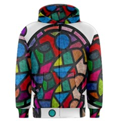 Stained Glass Color Texture Sacra Men s Zipper Hoodie