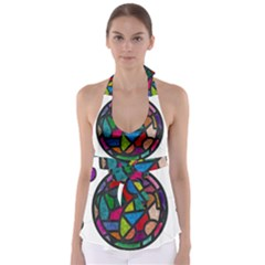 Stained Glass Color Texture Sacra Babydoll Tankini Top by BangZart