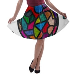 Stained Glass Color Texture Sacra A Line Skater Skirt