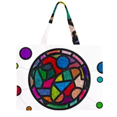 Stained Glass Color Texture Sacra Zipper Large Tote Bag by BangZart