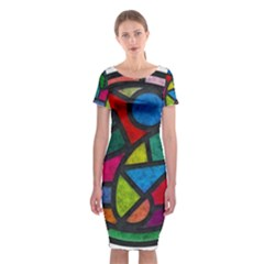 Stained Glass Color Texture Sacra Classic Short Sleeve Midi Dress by BangZart