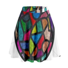 Stained Glass Color Texture Sacra High Waist Skirt