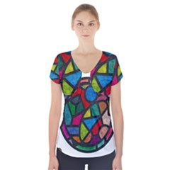 Stained Glass Color Texture Sacra Short Sleeve Front Detail Top