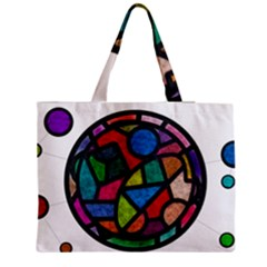 Stained Glass Color Texture Sacra Medium Zipper Tote Bag