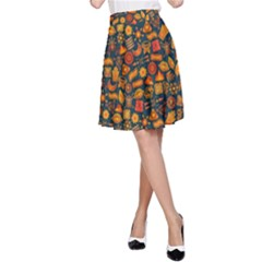 Pattern Background Ethnic Tribal A Line Skirt