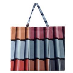 Shingle Roof Shingles Roofing Tile Zipper Large Tote Bag