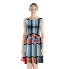 Shingle Roof Shingles Roofing Tile Sleeveless Waist Tie Chiffon Dress