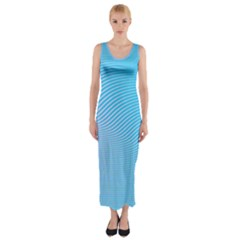 Background Graphics Lines Wave Fitted Maxi Dress