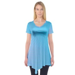 Background Graphics Lines Wave Short Sleeve Tunic
