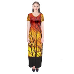Sunset Abendstimmung Short Sleeve Maxi Dress