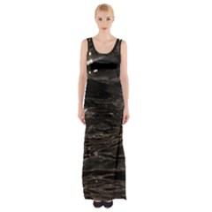 Lake Water Wave Mirroring Texture Maxi Thigh Split Dress