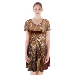 Ice Iced Structure Frozen Frost Short Sleeve V Neck Flare Dress