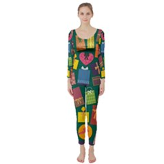 Presents Gifts Background Colorful Long Sleeve Catsuit by BangZart