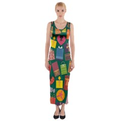 Presents Gifts Background Colorful Fitted Maxi Dress