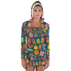 Presents Gifts Background Colorful Women s Long Sleeve Hooded T Shirt