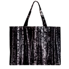 Birch Forest Trees Wood Natural Zipper Mini Tote Bag by BangZart