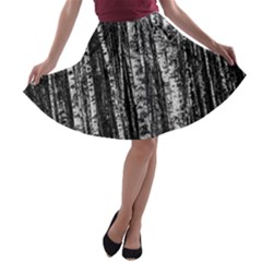 Birch Forest Trees Wood Natural A Line Skater Skirt