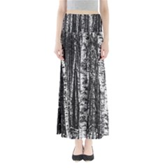 Birch Forest Trees Wood Natural Full Length Maxi Skirt