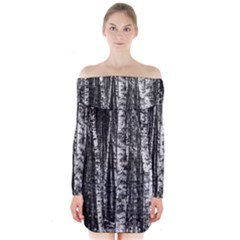 Birch Forest Trees Wood Natural Long Sleeve Off Shoulder Dress