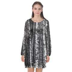 Birch Forest Trees Wood Natural Long Sleeve Chiffon Shift Dress  by BangZart