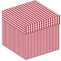 Usa Flag Red Blood Large Gingham Check Storage Stool 12   by PodArtist