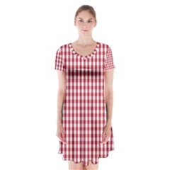 Usa Flag Red Blood Large Gingham Check Short Sleeve V Neck Flare Dress