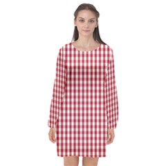 Usa Flag Red Blood Large Gingham Check Long Sleeve Chiffon Shift Dress