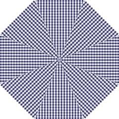 Usa Flag Blue Large Gingham Check Plaid  Hook Handle Umbrellas (small) by PodArtist