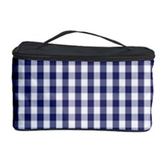 Usa Flag Blue Large Gingham Check Plaid  Cosmetic Storage Case by PodArtist