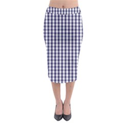 Usa Flag Blue Large Gingham Check Plaid  Midi Pencil Skirt by PodArtist