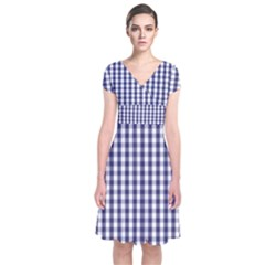 Usa Flag Blue Large Gingham Check Plaid  Short Sleeve Front Wrap Dress by PodArtist