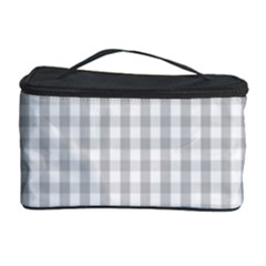 Christmas Silver Gingham Check Plaid Cosmetic Storage Case by PodArtist
