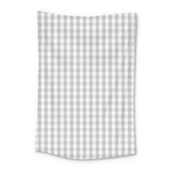 Christmas Silver Gingham Check Plaid Small Tapestry by PodArtist
