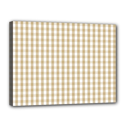 Christmas Gold Large Gingham Check Plaid Pattern Canvas 16  X 12  by PodArtist