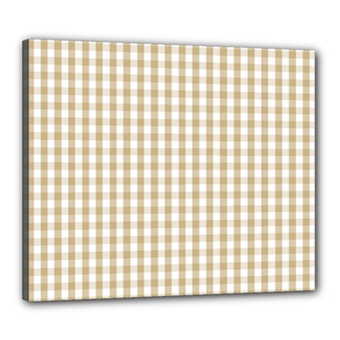 Christmas Gold Large Gingham Check Plaid Pattern Canvas 24  X 20