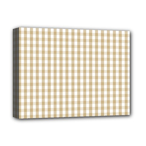 Christmas Gold Large Gingham Check Plaid Pattern Deluxe Canvas 16  X 12   by PodArtist
