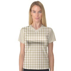 Christmas Gold Large Gingham Check Plaid Pattern Women s V Neck Sport Mesh Tee