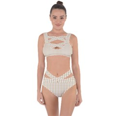 Christmas Gold Large Gingham Check Plaid Pattern Bandaged Up Bikini Set