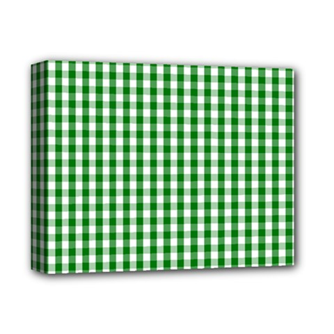 Christmas Green Velvet Large Gingham Check Plaid Pattern Deluxe Canvas 14  X 11  by PodArtist