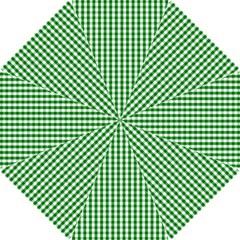Christmas Green Velvet Large Gingham Check Plaid Pattern Hook Handle Umbrellas (small) by PodArtist