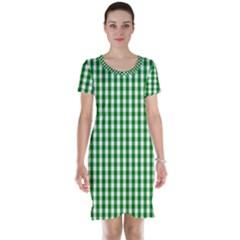 Christmas Green Velvet Large Gingham Check Plaid Pattern Short Sleeve Nightdress
