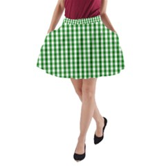 Christmas Green Velvet Large Gingham Check Plaid Pattern A Line Pocket Skirt by PodArtist
