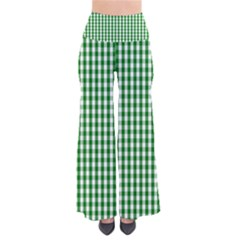 Christmas Green Velvet Large Gingham Check Plaid Pattern Pants by PodArtist
