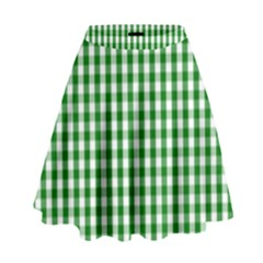 Christmas Green Velvet Large Gingham Check Plaid Pattern High Waist Skirt by PodArtist