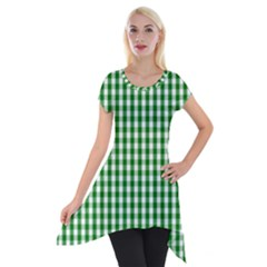 Christmas Green Velvet Large Gingham Check Plaid Pattern Short Sleeve Side Drop Tunic
